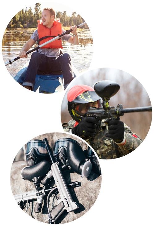 example of outdoor activities in the poconos including kayak and paintball