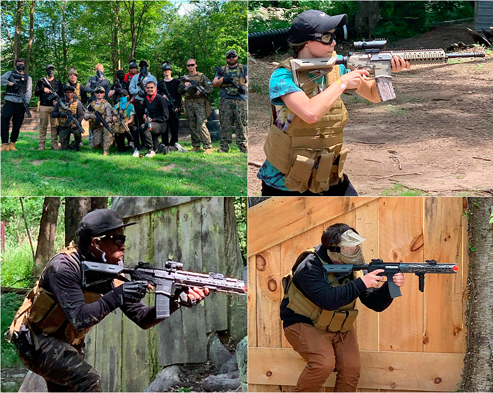 photos of airsoft players at the paintball asylum field