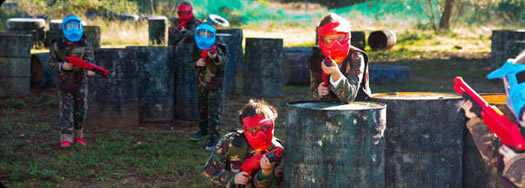 kids playing paintball with gotcha markers